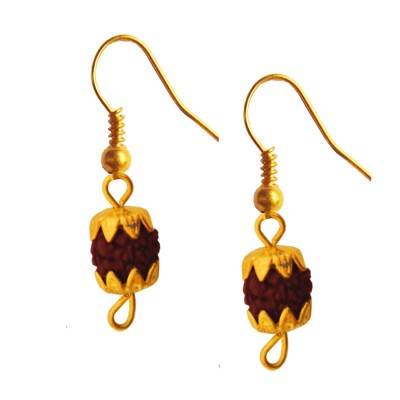 Menjewell Rudraksha Jewellery Collection Gold:Brown Fancy Unisex Style Lord Shiva Gold Cap Rudraksha Bali Earring