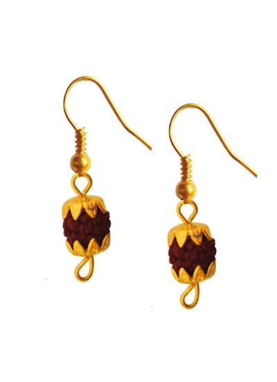 Menjewell Rudraksha Jewellery Collection Gold:Brown Fancy Unisex Style Lord Shiva Gold Cap Rudraksha Bali Earring