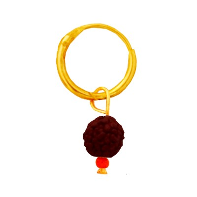 Menjewell Rudraksha Jewellery Collection Gold:Brown Fancy Unisex Style Lord Shiva Rudraksha Bali Earring