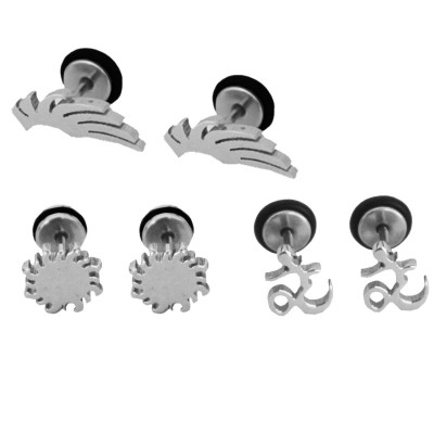 Imported Men's Silver:Black Unique Om Design & Different Stud Earring Combo For Men