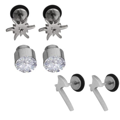 Menjewell Imported Men's Silver:Black Stylish Stone Studed & Axe Design Earring Combo For Men