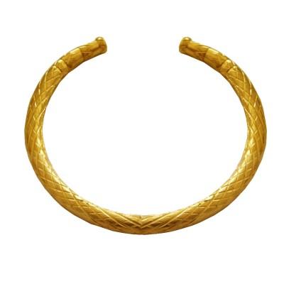 Menjewell Antique Design Gold Plated Criss Cross Half Cuff Brass  Kada(2.8)