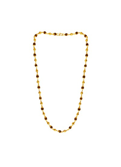 Menjewell Lord Shiva Rudraksha Brown Gold Plated Caps With Rudraksha & Gold Plated Beads Rudraksha Mala /Necklace For Men & Women(25 Inch)