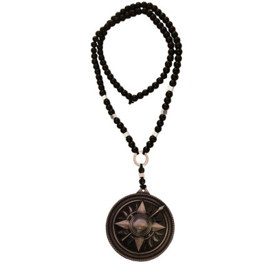 Menjewell New Collection Game of Thrones Black:Gray Round Martell Design Pendant With Chain