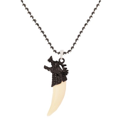 Menjewell Wild life  White:Gray Artificial Design Wolf Tooth Pendant With Chain