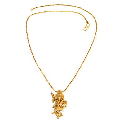 Mens Fashion Religious Jewellery Antique Gold Plated Mini Dancing Ganesha/Ganpati Pendant With Chain For Men & Women
