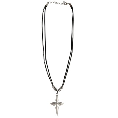 Menjewell Sterling Crucifix Black:Silver Unique Design Jesus Christ Cross Pendant For Men & Boy
