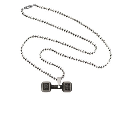 Menjewell Antique Finish & Classic design Gray:Black Sports & Gym Fitness Body Builders Dumbbell Pendant For Men & Boys