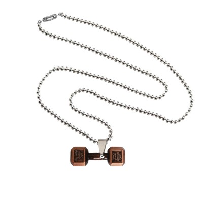 Menjewell Antique Finish & Classic design Brown:Silver Sports & Gym Fitness Body Builders Dumbbell Pendant For Men & Boys