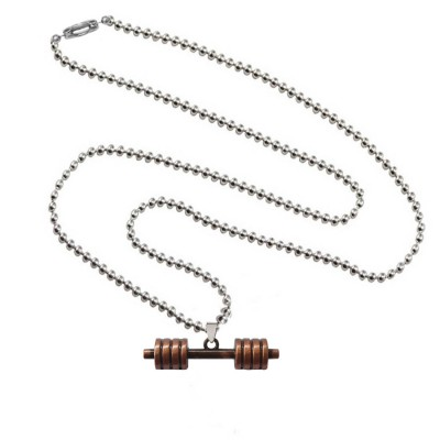 Menjewell Antique Finish & Classic design Brown:Silver Sports & Gym Fitness Stack Plate Dumbbell  Pendant For Men & Boys