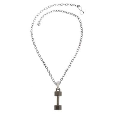 Menjewell Antique Finish & Classic design Silver:Gray Sports & Gym Fitness Dumbbell  Pendant For Men & Boys