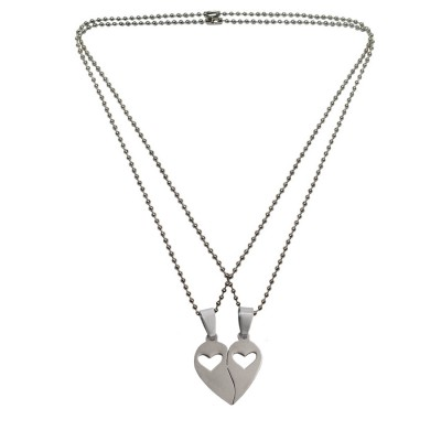 Menjewell Eyecatching Express your love  Silver Antique His and Hers Broken Heart Couple Pendant