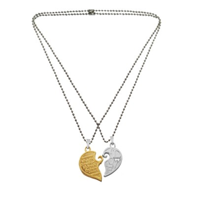 Menjewell Gold::Silver Message For Your Love Flower Design Couple Broken Heart Dual Pendants
