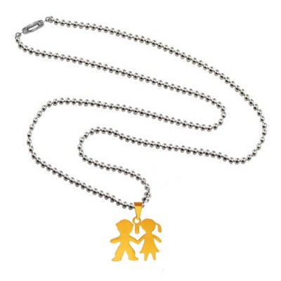 Menjewell Express Your Feeling Through Silver:Gold Antique Finish Girl & Boy Pendant