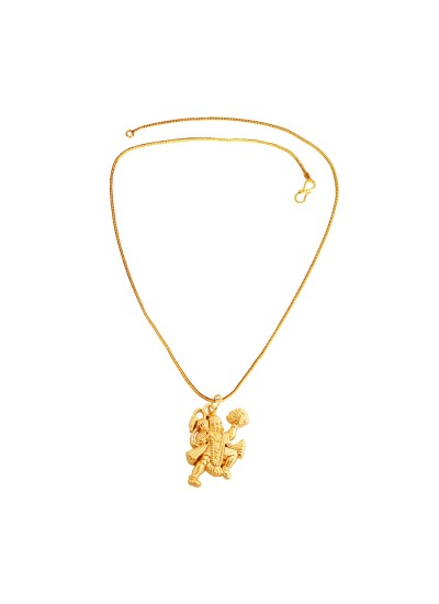 Menjewell Religious Jewellery Antique 24k Yellow Gold Plated Pawan Putra Hanuman/ Bajrang Bali Pendant With Chain For Men & Women