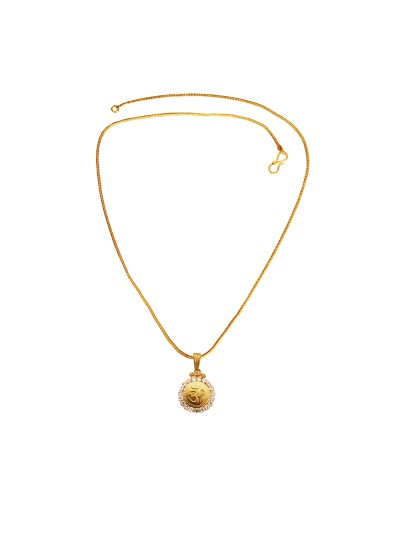 Menjewell Religious Jewellery Antique 24k Yellow Gold Plated Stone Studded Om Pendant With Chain For Men & Women