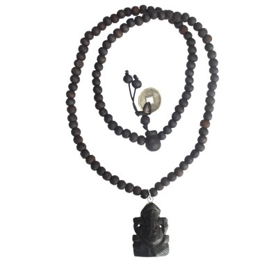 Menjewell Religious Collection Black Success Luck and Wealth Blessing Ganesha Hand Carved Pendant For Men & Boys