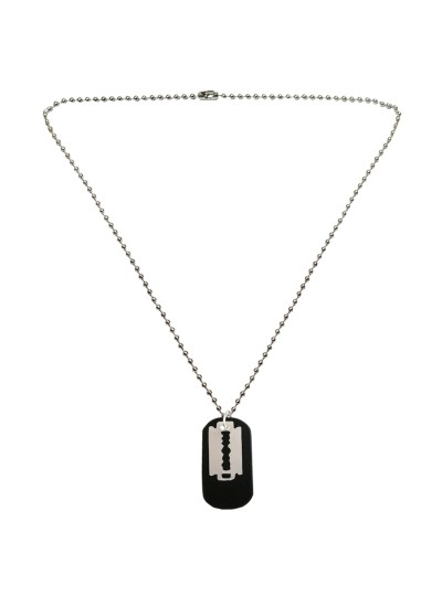 Menjewell New Collection Black::Silver Cool Razor Blade Dog Tag Design Pendant