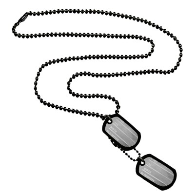 Menjewell New Collection Black Army Style 2pcs Name Dog Tags Pendant