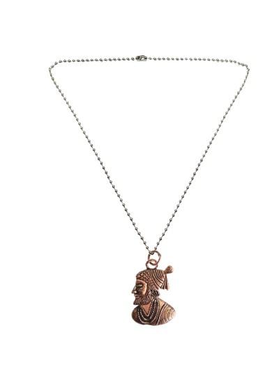 Menjewell New Collection Copper::Silver Chhatrapati Shivaji Maharaj Fashion Pendant