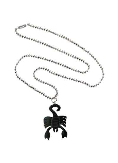 Menjewell Wood Collection Black::Silver Scorpion Design Fashion Pendant