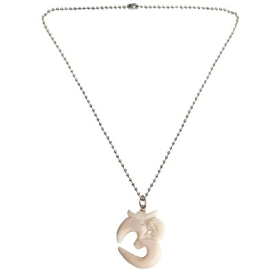 Menjewell New Collection White::Silver Om Mantra Indian Yoga Chakra Charm Design Pendant