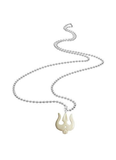 Menjewell Wood Collection White::Silver Lord Shiv Trishul White Cream Design Shivling and Lord Shiva Pendant