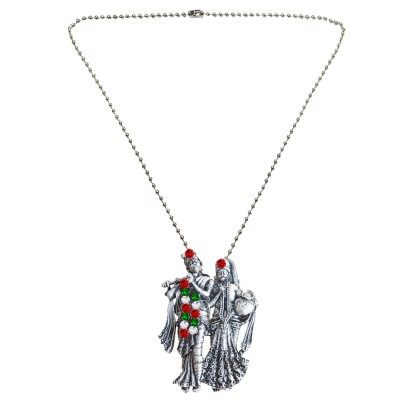 Menjewell New Collection Silver Divine Radha Krishna Design Pendant