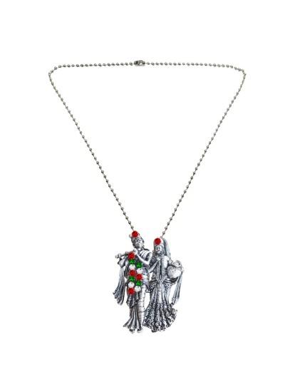 Menjewell New Collection Silver Divine Radha Krishna Design Pendant