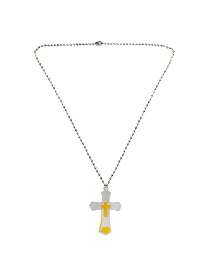 Menjewell Religious Collection Yellow::Silver Jesus Christ Cross Cut Out Dog Tag Design Pendant For Boys and Mens