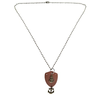 Menjewell Leather collection Multicolor Vintage Navy Anchor With Wheel Design Pendant