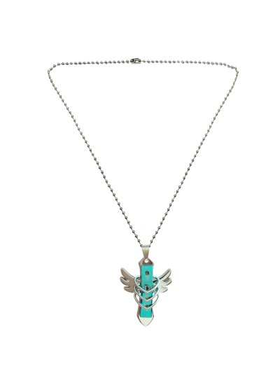 Menjewell Trendy Collection Blue::Silver New Arrival Cross Feather Design Fashion Pendant
