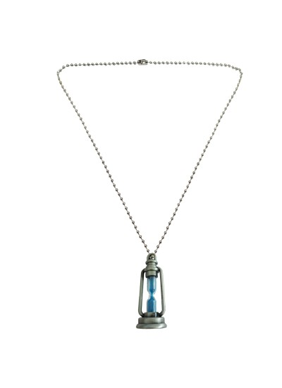 Menjewell Trendy Collection Blue::Silver Sand Timer Hour glass in Fancy lamp Design Fashion Pendant