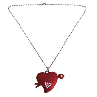 Menjewell Heart Jewellery Collection Red::Silver Unique Friend Design Heart & Arrow Pendant For Men & Boys