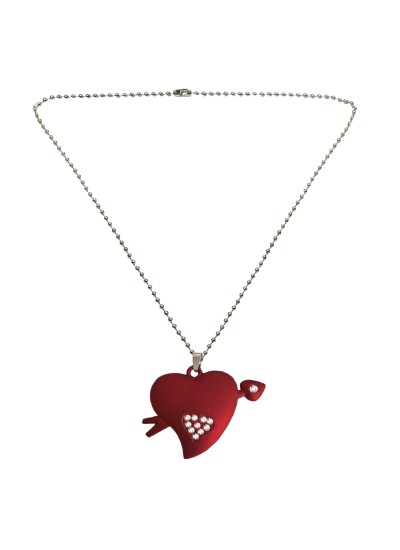 Menjewell Heart Jewellery Collection Red::Silver Unique Friend Design Heart & Arrow Pendant For Men & Boys