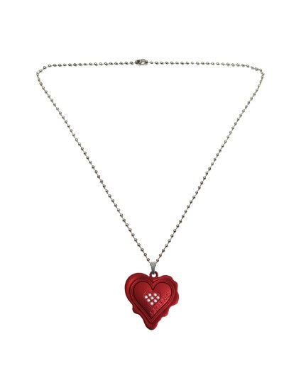 Menjewell Heart Jewellery Collection Red::Silver Unique Friend Design Heart Pendant For Men & Boys