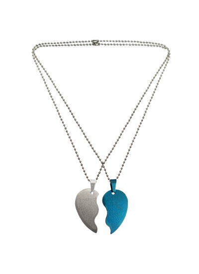 Menjewell Heart Jewellery Collection Blue::Silver Connecting Hearts Names Engraved Couples Pendant For Men & Boys