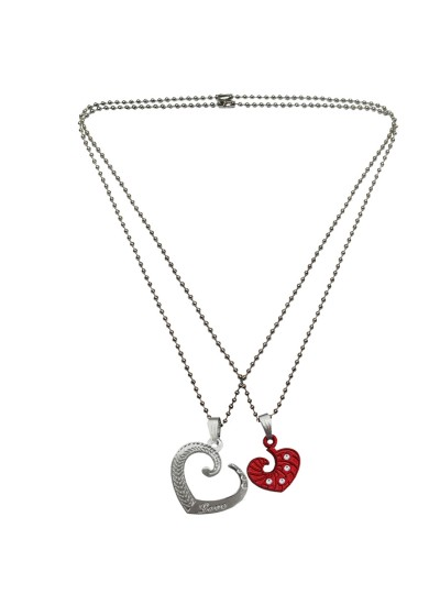 Menjewell Heart Jewellery Collection Gold::Silver Connecting Hearts Names Engraved Couples Pendant