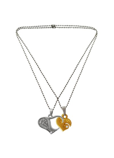 Menjewell Heart Jewellery Collection Red::Silver Connecting Hearts Names Engraved Couples Pendant