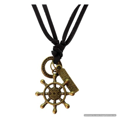Bronze  Boat Steering Wheel Fashion Pendant With Leather String