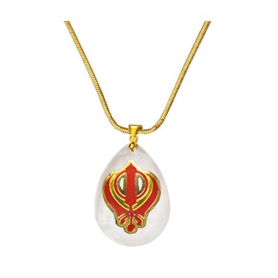 Gold::Red  Exclusive Khanda Sikh Emblem Inspired  Pendant