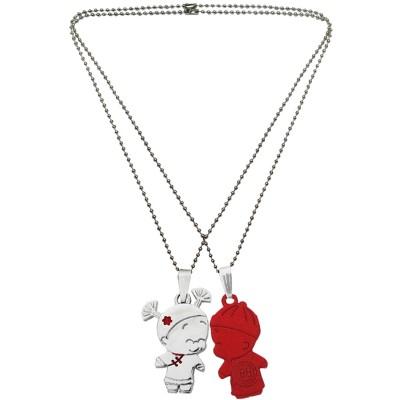 Menjewell Classic Couple Jewelley Silver & Maroon Cute Cartoon Boy and Girl Love Pendant
