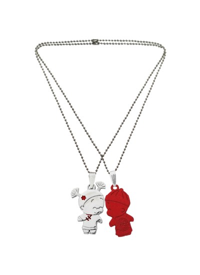 Menjewell Classic Couple Jewelley Silver & Maroon Cute Cartoon Boy and Girl Love Pendant