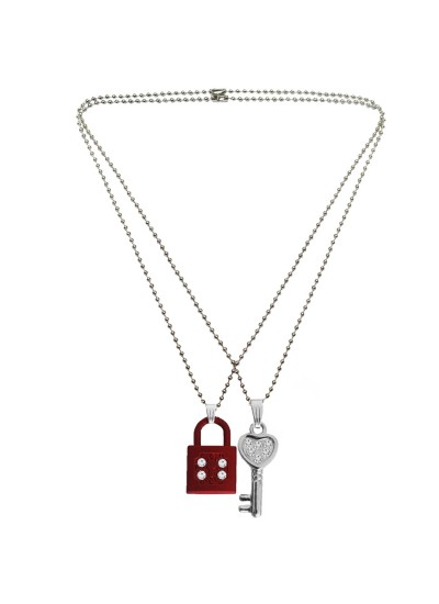 Menjewell Classic Couple Jewelley Silver & Maroon Eyecatching Lock With Key Pendant