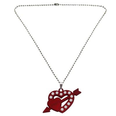 Menjewell Heart Jewellery Silver & Maroon Unique Friend Design Heart & Arrow Pendant
