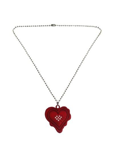 Menjewell ♥ Heart ♥ Jewellery Maroon Unique Friend Design Heart Pendant