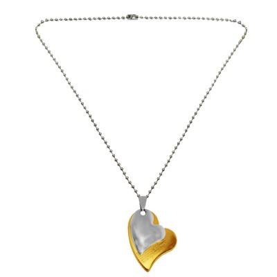 Couple Jewellery Silver & Gold Unique Design Heart On Heart Shape Love Pendant