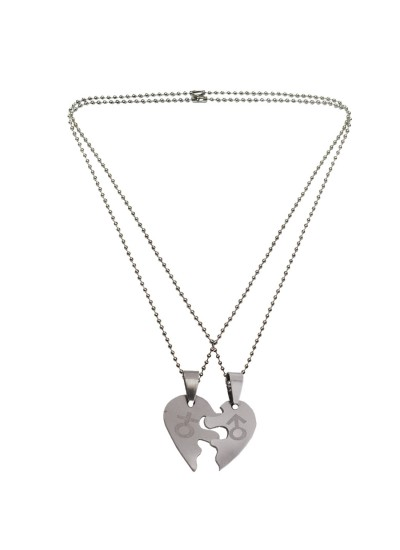 Couple Unique Pendant Male/Female Symbol In Lockable Broken Heart Dual Pendant