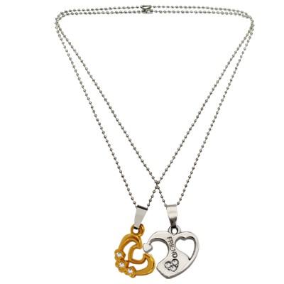 Menjewell Couple Heart Jewellery Silver & Gold Unique Friend In Lockable Broken Heart Pendant