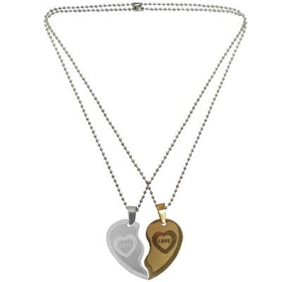 Gold Silver Couple Jewellery Broken Heart Dual Pendant